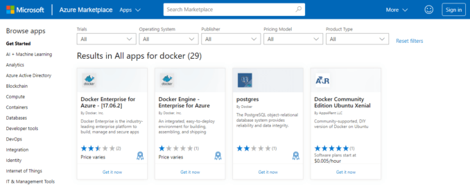 Docker Azure Marketplace