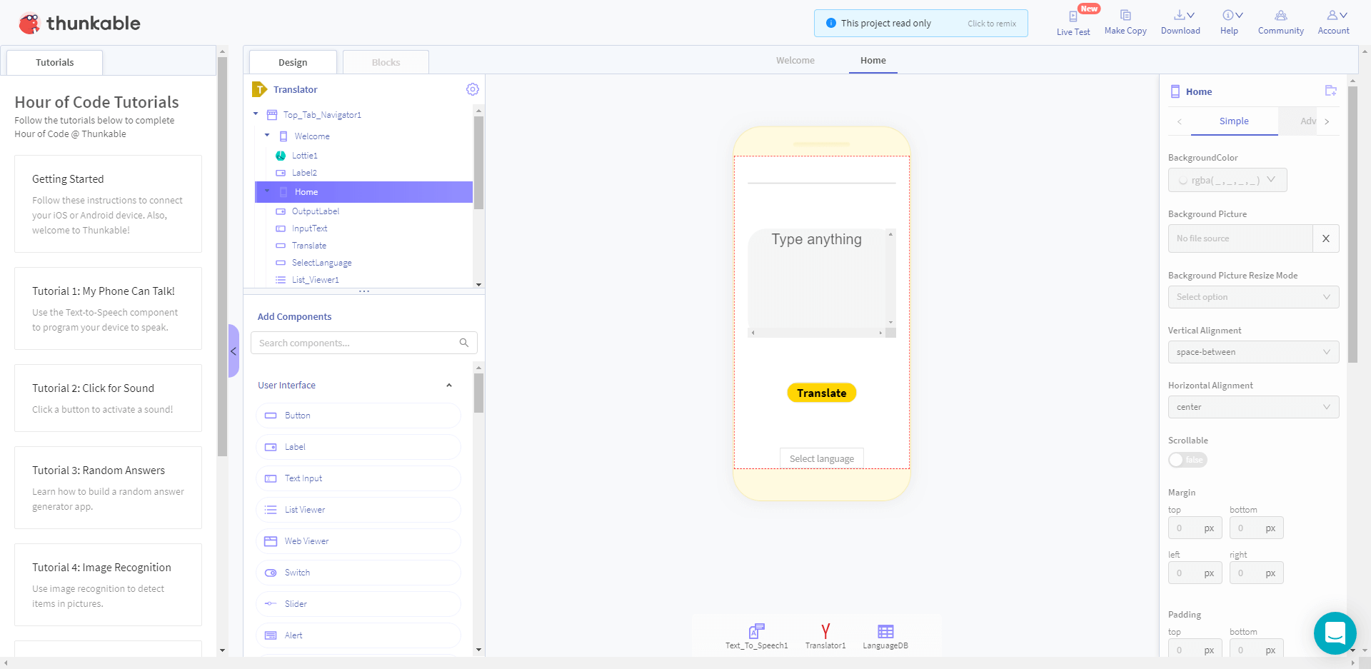 thunkable visuele app builder